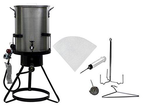 Outdoor Heavy Duty 50,000 BTU Propane 30 Quart Deep Turkey Fryer with Pot Plus Injector and Oil  ...