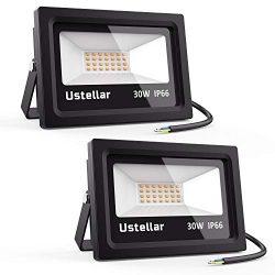 Ustellar 2 Pack 30W LED Flood Light, IP66 Waterproof, 2100lm, 150W Halogen Bulb Equivalent Outdo ...