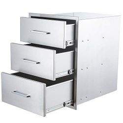 yuxiangBBQ Outdoor Kitchen Drawers Stainless Steel,14″ W x 20″ H Triple Drawers,Flus ...