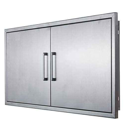 yuxiangBBQ Outdoor Kitchen Doors Stainless Steel,42″ Double Access Door,Flush Mount for Ou ...