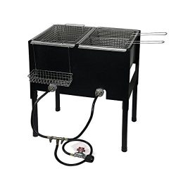 Barton High-Pressure Freestanding Triple Basket Deep Fryer Dual Burner Propane Fish Cooker Fry B ...