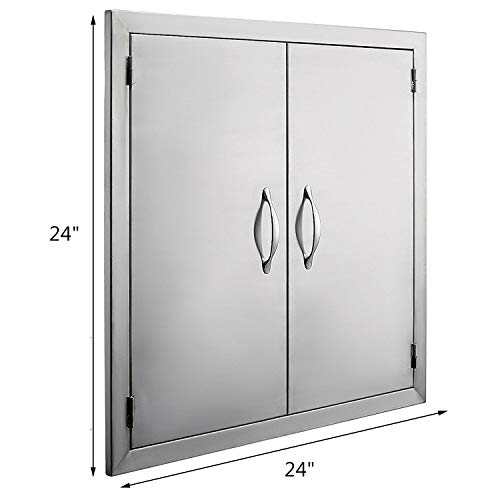 9TRADING New 24″ Hx24 W Double Outdoor Kitchen/BBQ Island Stainless Steel Double Access Do ...