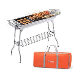Portable Charcoal Grill, Foldable BBQ Grills Outdoor Cooking Charcoal Barbeque for Picnic, Campi ...
