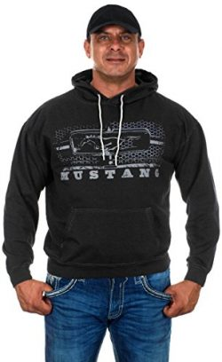 Men's Ford Mustang Pullover Hoodie Honeycomb Grill Charcoal Gray Sweatshirt (Large, GRI4-c ...