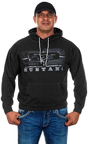 Men's Ford Mustang Pullover Hoodie Honeycomb Grill Charcoal Gray Sweatshirt (Medium, GRI4- ...