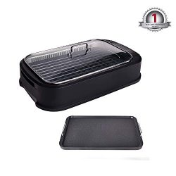 YOURLITE Electric Smokeless Grill with Tempered Glass Lid, Indoor BBQ Grilling and Searing with  ...