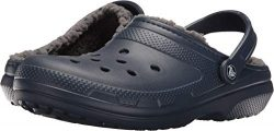 Crocs Classic Lined Clog, Navy/Charcoal, Men's 12, Women's 14 Medium
