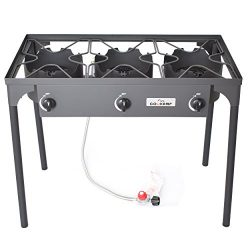 COOKAMP High Pressure 3-Burner Outdoor Camp Stove with 0-20 PSI Adjustable Regulator and Steel B ...