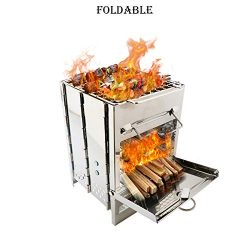 ALOVEMO Foldable Stainless Steel Barbecue Grill, Portable Camping Stove Camp Wood Stove Burning  ...