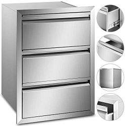 Mophorn Outdoor Kitchen Drawer Stainless Steel 14.7×25.4 Inch Triple Access BBQ Drawers Box ...