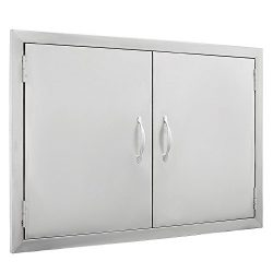 SHZOND 30.5″ W x21 H BBQ Access Door 304 Stainless BBQ Island Door Heavy Duty Double Door  ...