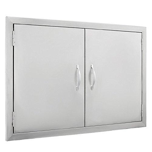 SHZOND 30.5″ W x21 H BBQ Access Door 304 Stainless BBQ Island Door Heavy Duty Double Door  ...