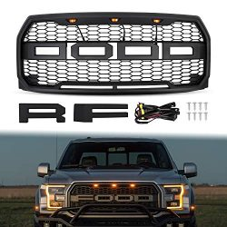 Grille for 2015 2016 2017 Ford F150, AAIWA Front Grill Replacement with Amber LED Light Raptor S ...
