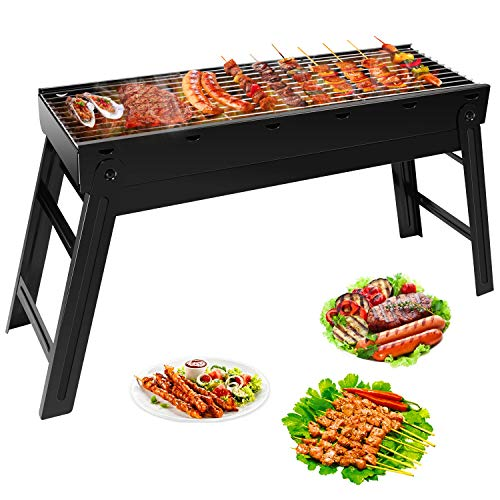 Ledeak Barbecue Charcoal Grill, Portable Folding Lightweight BBQ Grill, Stainless Steel Smoker G ...