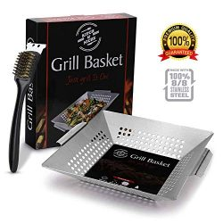 BBQ Grilling Basket with Barbeque Cleaning Brush, Wok, Pan Fish, Meat, Vegetables, Grill | Heavy ...