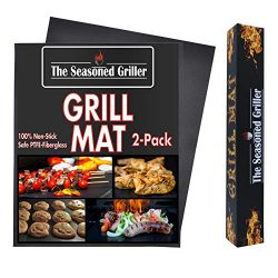 The Seasoned Griller FDA Approved Non-Stick Dishwasher Safe Grill Mats, Reuseable 2-Pack Easy to ...