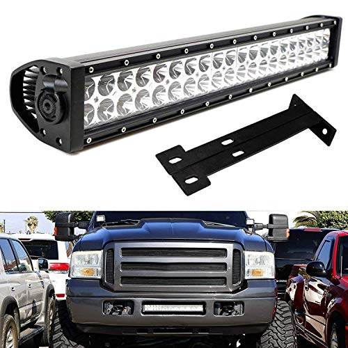 iJDMTOY Lower Grille 20-Inch LED Light Bar Kit For 1999-2007 Ford F250 F350 Super Duty, Includes ...