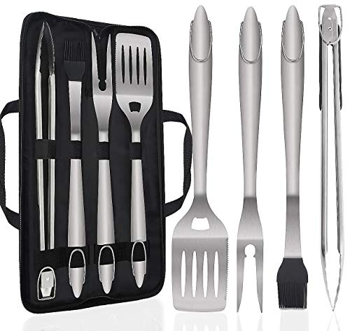 POLIGO 5PCS Barbecue Grilling Accessories Set with Bag – Extra Thick Stainless Steel Spatu ...