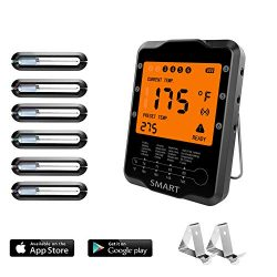Instant Read Wireless Digital Remote Control Meat Thermometer with 6 Probes for Grill Smoker Outdoor