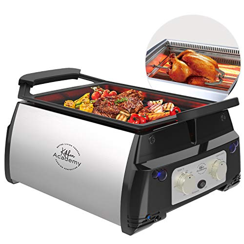 Kitchen Academy Electric Indoor Grill with Removable Non-Stick Plate, Infrared Heating Smokeless ...