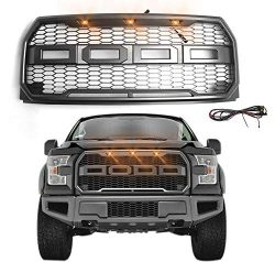 Raptor-Style Front Bumper Matte Grille Grill for Ford F-150 2015 2016 2017 Topfire Fury Grid Gla ...