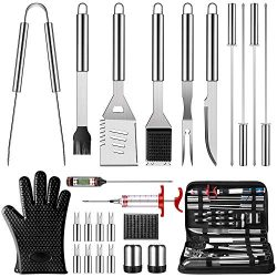 OlarHike Grilling Accessories BBQ Grill Tools Set, 25PCS Stainless Steel Grilling Kit for Smoker ...