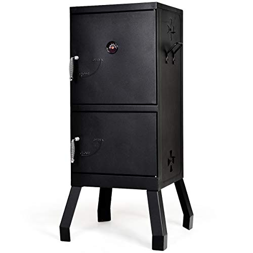 Giantex Vertical Charcoal Smoker 2-Tier Outdoor Barbeque Grill with Thermometer, Air Tent and Ha ...