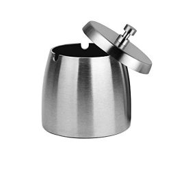 OILP Outdoor Ashtray with Lid for Cigarettes,Stainless Steel Windproof/Rainproof Ashtray for Out ...
