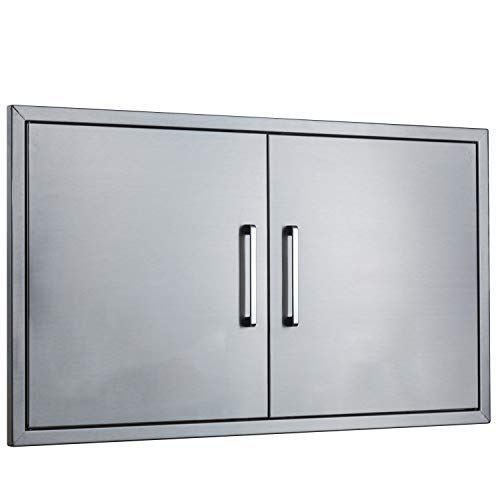 yuxiangBBQ Outdoor Kitchen Doors Stainless Steel,36″ Double Access Door,Flush Mount for Ou ...