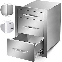Mophorn Outdoor Kitchen Drawers Stainless Steel 17.7×20.5 Inch Triple Drawers with Chrome H ...