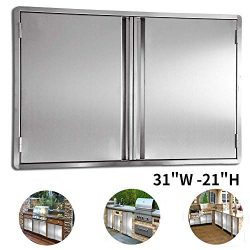 CIOGO BBQ Access Door 31×21 Inch Double Wall Outdoor Kitchen Door, 304 All Brushed Stainles ...