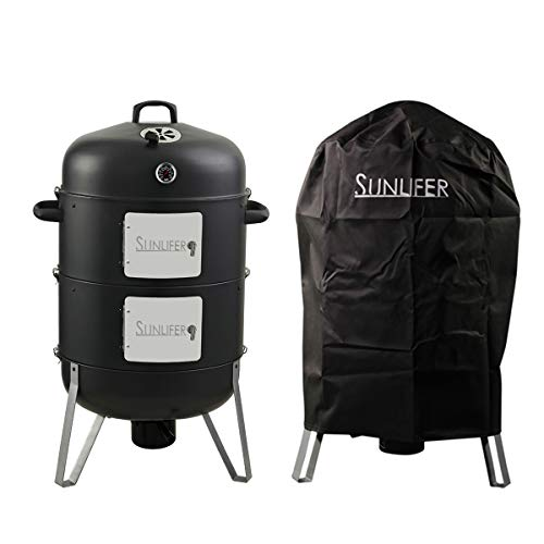 SUNLIFER Vertical Charcoal Smoker and Grill Combo, Heavy-Duty BBQ Smokers for Outdoor Cooking Ca ...