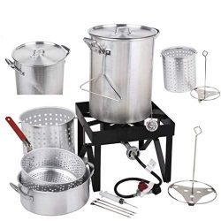 Holiday Master 30QT Turkey Fryer Steamer Kit – Heavy Duty Aluminum 55000 BTU Propane Burne ...