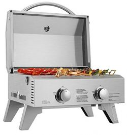 VIVOHOME Tabletop Stainless Steel 2-Burner Gas Grill Portable 2000 BTU BBQ Grid with Foldable Le ...