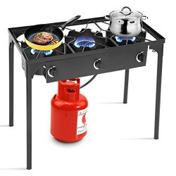 Goplus Outdoor Stove Portable Propane Gas Cooker Iron Cast Patio Burner w/Detachable Legs for Ca ...