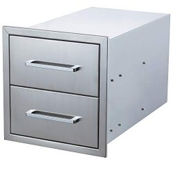 yuxiangBBQ Outdoor Kitchen Drawers Stainless Steel,14″ W x 15″ H Double Drawers,Flus ...