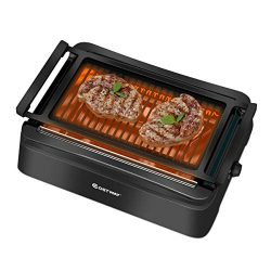 COSTWAY Smokeless Grill, Compact & Portable Indoor Electric BBQ Grill w/ Advanced Infrared T ...