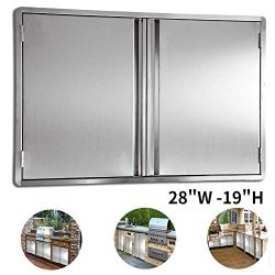 CIOGO BBQ Access Door 28×19 Inch Double Wall Outdoor Kitchen Door, 304 All Brushed Stainles ...