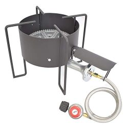 COOKAMP High Pressure Banjo 1-Burner Outdoor Propane Gas Cooker with 0-20 PSI Adjustable Regulat ...