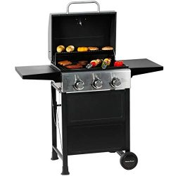 MASTER COOK 3 Burner BBQ Propane Gas Grill, Stainless Steel 30,000 BTU Patio Garden Barbecue Gri ...