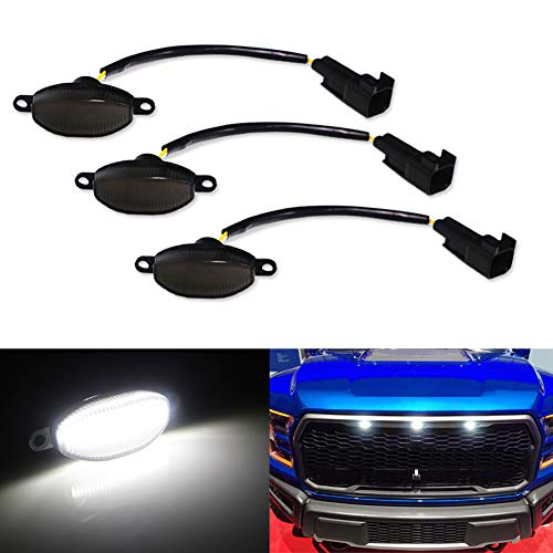 Miniclue 3pcs Smoked Lens White LED for 2010-2014 and 2017-up Ford Raptor Grille Running Lights, ...