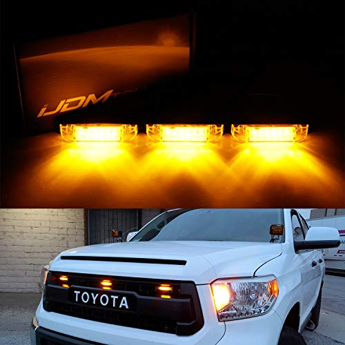 iJDMTOY 3pc Amber LED Center Grille Running Light Kit For 2014-up Toyota Tundra w/TRD Pro Grill  ...