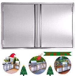 CIOGO BBQ Access Door 29×22 Inch Double Wall Outdoor Kitchen Door, 304 All Brushed Stainles ...