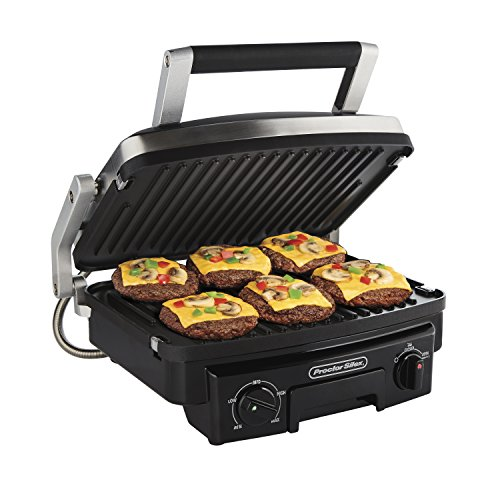 Proctor Silex 5-in-1 Electric Indoor Grill, Griddle & Panini Press, Opens Flat to Double Coo ...