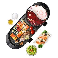 Upgraded Electric Indoor Grill, 6.56ft Cable 2000W Shabu Shabu 2L Hot Pot With Electric Indoor A ...