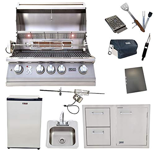 Lion 32-Inch Natural Gas Grill L75000 with Refrigerator and Door and Drawer Combo and Drop-in Si ...