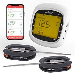 Smart Bluetooth BBQ Grill Thermometer – Upgraded Stainless Dual Probes Safe to Leave in Ou ...