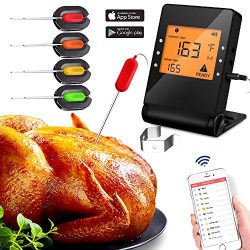 Meat Thermometer, Wireless Bluetooth Digital Thermometer with 4 Probe for Indoor Outdoor Oven Sm ...