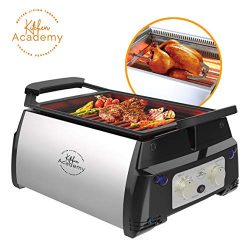 Kitchen Academy Indoor Infrared Grill, Portable Non-Stick Electric Tabletop Kitchen BBQ Grill an ...