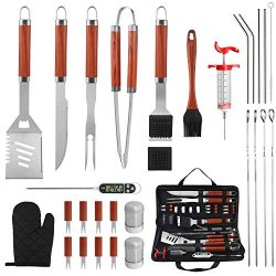 grilljoy 30PCS BBQ Grill Tools Set with Thermometer and Meat Injector. Extra Thick Stainless Ste ...